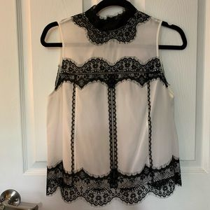 Alice and Olivia Lettie silk lace panel blouse